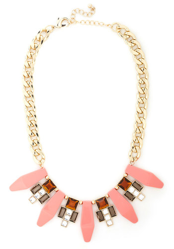 What a Treat Necklace - Coral, Gold, Solid, Rhinestones, Vintage Inspired, 30s, Multi, Statement, Prom, Pink