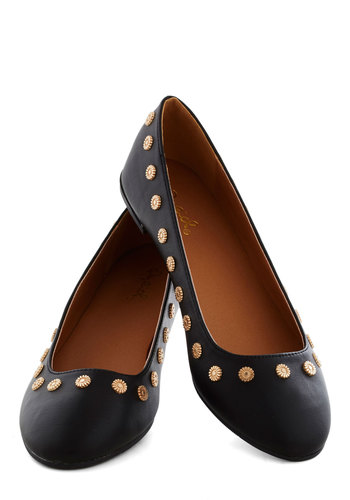 Bordered in Blossoms Flat - Black, Flower, Studs, Flat, Good, Faux Leather, Solid