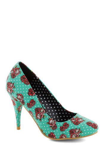 A Rose by Any Other Dame Heel - Blue, Multi, Party, Girls Night Out, High, Good, Woven, Quirky, Polka Dots, Floral, Novelty Print, Statement