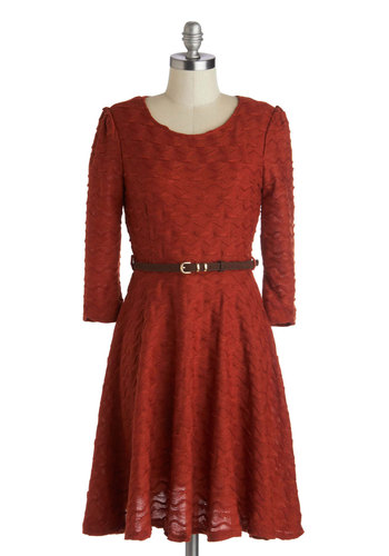Frolicking the Farm Dress - Sheer, Knit, Woven, Red, Solid, Belted, Casual, A-line, Long Sleeve, Better, Scoop, Fall, Urban, Mid-length