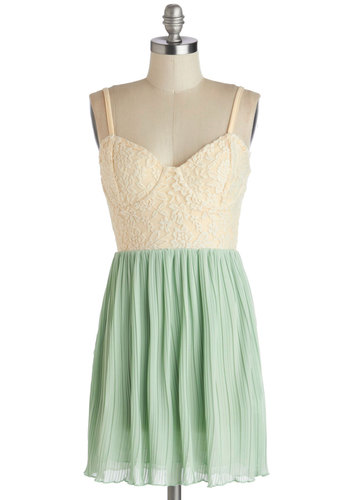 Jade Peace Dress - Lace, Pleats, Twofer, Pastel, Short, Tan / Cream, Mint, Spaghetti Straps, Summer, Better, Sweetheart, Daytime Party, Fairytale