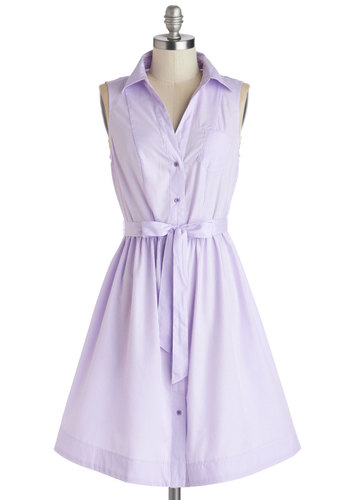 Grape Ice Dress - Mid-length, Woven, Purple, White, Stripes, Buttons, Belted, Casual, Shirt Dress, Sleeveless, Summer, Good, Collared, Pastel, Spring, Sundress, Press Placement