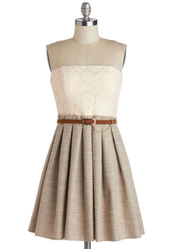 Backstage Beauty Dress - Knit, Woven, Tan / Cream, White, Lace, Pleats, Belted, Twofer, Strapless, Summer, Good, Solid, Daytime Party, A-line