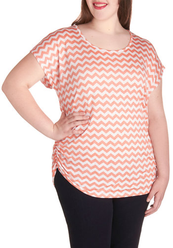 Fly Frequency Top in Coral - Plus Size - Jersey, Knit, Coral, White, Chevron, Ruching, Casual, Short Sleeves, Variation, Scoop