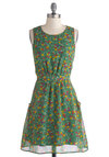 Field of Dreaminess Dress by Tulle Clothing - Green, Floral, Mid-length, Woven, Multi, Pockets, Casual, A-line, Sleeveless, Better, Scoop