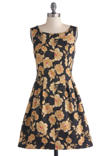 Zen Garden Gala Dress - Mid-length, Cotton, Woven, Black, Multi, Floral, Exposed zipper, Pleats, Party, Sleeveless, Better, Scoop, Yellow, A-line