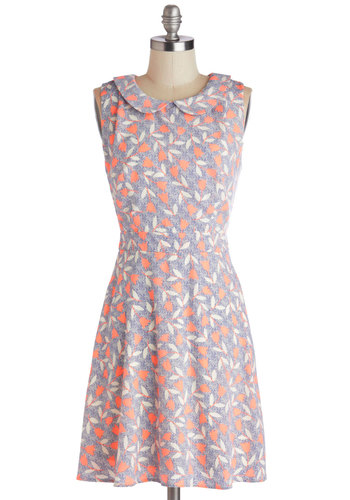 Highlight and Early Dress - Woven, Short, Orange, White, Floral, Peter Pan Collar, Casual, A-line, Sleeveless, Summer, Good, Collared, Multi, Blue, Spring
