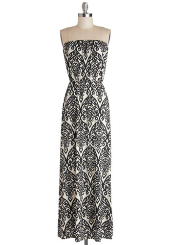 Taxi My Breath Away Dress - Knit, Long, Black, White, Print, Casual, Maxi, Strapless, Good, Fall