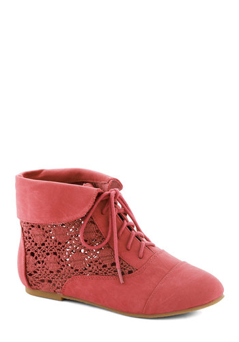Seasons of Lovely Bootie in Strawberry - Coral, Solid, Crochet, Flat, Lace Up, Faux Leather, Good, Casual, Boho, Sheer, Variation
