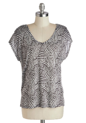 Graphic Artistry Top - Jersey, Knit, White, Print, Short Sleeves, Good, Black, Casual, Safari, Scoop, Mid-length, Multi, Short Sleeve