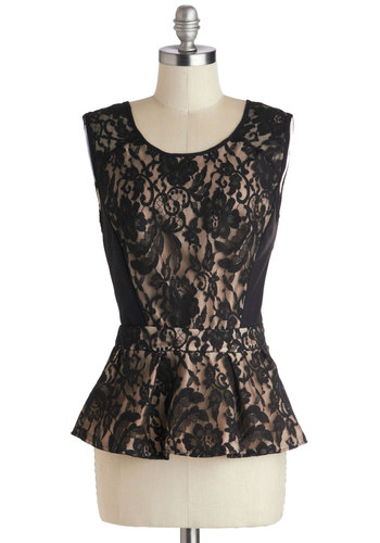Samba Showcase Top - Black, Tan / Cream, Lace, Cocktail, Peplum, Sheer, Knit, Woven, Mid-length, Party, Film Noir, Scoop, Black, Sleeveless