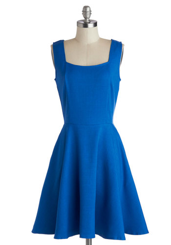 Sapphire Spin Dress - Blue, Solid, Exposed zipper, Party, A-line, Tank top (2 thick straps), Mid-length, Woven, Better, Pockets, Work, Minimal