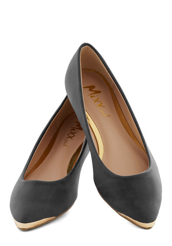 A Fine Point Flat in Black - Black, Solid, Flat, Faux Leather, Good, Gold, Party, Work, Daytime Party, Minimal, Variation, Basic
