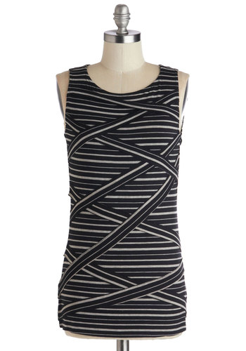 Early Morning Leisure Top - Mid-length, Black, Grey, Stripes, Casual, Sleeveless, Knit, Scoop, Black, Sleeveless