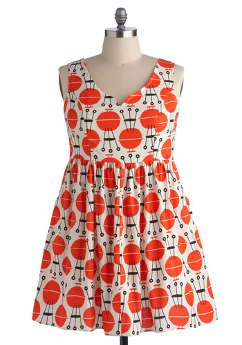 Martha's Air of Adorable Dress in BBQ - Plus Size - Cotton, Woven, Orange, Novelty Print, Pockets, Casual, Sleeveless, Summer, Better, V Neck, Black, White, Vintage Inspired, 50s, 60s, A-line, Exclusives
