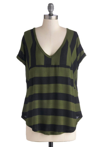 Best of the Pesto Top - Stripes, Short Sleeves, Good, Mid-length, Jersey, Knit, Green, Black, Casual, V Neck, Green, Short Sleeve