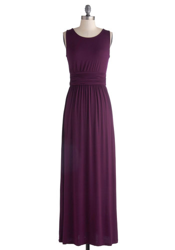 Crepes and Grapes Dress - Purple, Solid, Cutout, Casual, Minimal, Maxi, Tank top (2 thick straps), Good, Scoop, Jersey, Knit, Ruching, Fall, Gifts Sale, Long