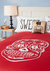 Sugar Sweet Dreams Duvet Cover in Full/Queen - Cotton, Red, White, Novelty Print, Dorm Decor, Best, Halloween
