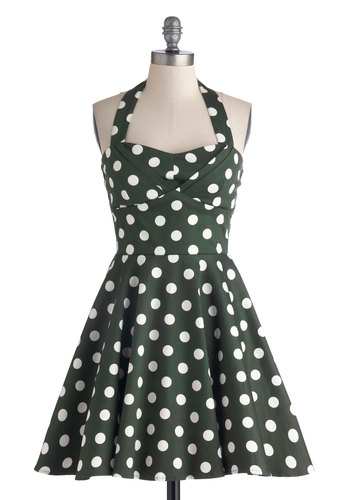 Traveling Cupcake Truck Dress in Olive - Green, White, Polka Dots, Daytime Party, Vintage Inspired, Fit & Flare, Halter, Good, Sweetheart, Cotton, Woven, Mid-length