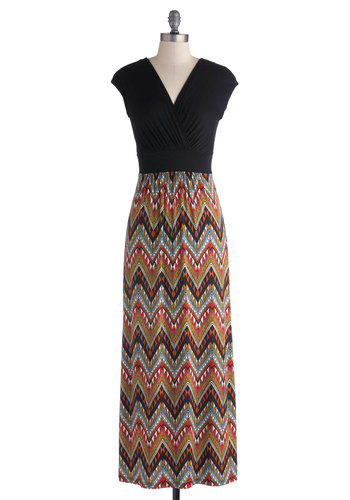 Rather Be in Rio Dress - Multi, Chevron, Casual, Maxi, Cap Sleeves, Good, V Neck, Long, Woven, Jersey, Black
