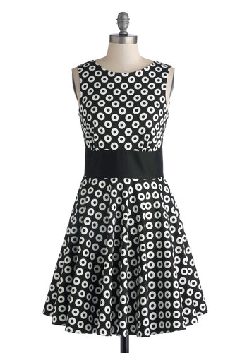 Photogram Gallery Dress by Closet - Mid-length, Cotton, Knit, Black, White, Polka Dots, Exposed zipper, Pockets, Party, A-line, Tank top (2 thick straps), Better, Scoop, Print