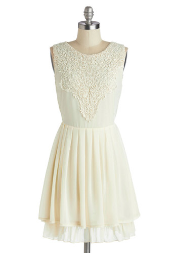 Candle Lighting Dress - Solid, Party, A-line, Good, Scoop, Mid-length, Chiffon, Sheer, Woven, Crochet, Bride, Cream, Tiered, Cocktail, Graduation