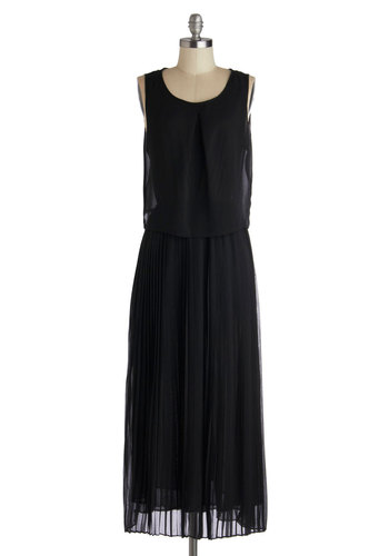 Breezy As Sunday Morning Dress - Black, Solid, Party, Maxi, Good, Long, Chiffon, Sheer, Woven, Pleats, Vintage Inspired, Sleeveless, Scoop, 20s