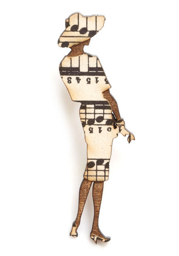 Chic Silhouette Pin in Sheath - Brown, Black, Cream, Vintage Inspired, Music, Variation