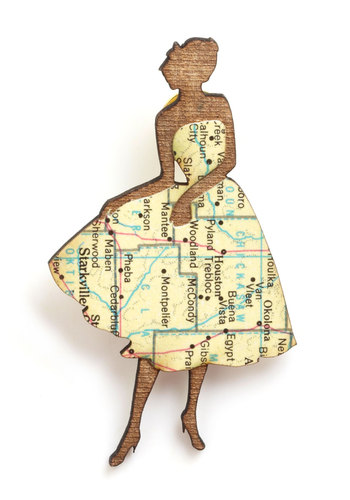 Chic Silhouette Pin in Flare - Multi, Tan / Cream, Variation, Top Rated