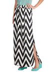 Darling Date Night Skirt - Chevron, Maxi, Long, Chiffon, Casual, Woven, Black, White, Black, White