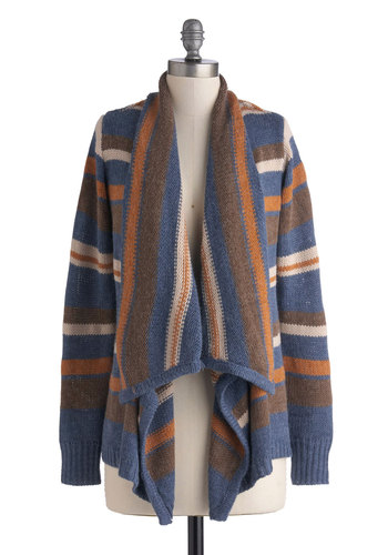 Reading in Round Cardigan - Blue, Orange, Brown, Tan / Cream, Stripes, Long Sleeve, Mid-length, Knit, Casual, Fall, Multi, Long Sleeve