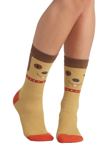 Bow Wow Factor Socks - Tan, Multi, Print with Animals, Quirky, Good, Knit, Casual, Kawaii, Gifts Sale