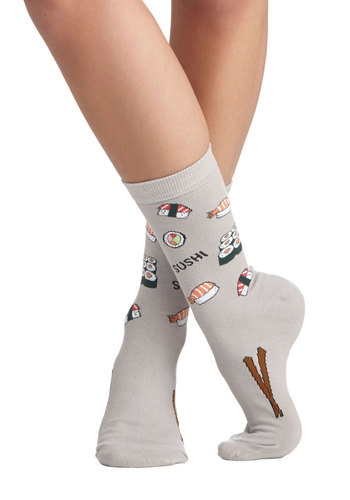 Sushi's Got Good Taste Socks - Grey, Casual, Quirky, Good, Knit, Multi, Novelty Print
