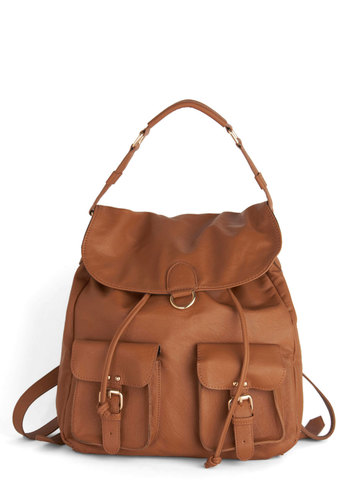 Welcome Backpack - Brown, Solid, Casual, Boho, Urban, Travel, Scholastic/Collegiate, 90s, Fall, Faux Leather, Festival