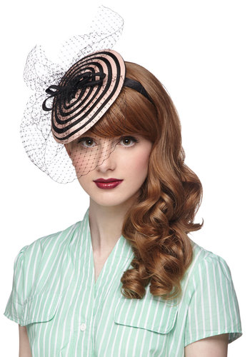 A Ladylike You Fascinator - Stripes, Bows, Formal, Better, Pink, Black, Wedding, Daytime Party, Vintage Inspired, 40s