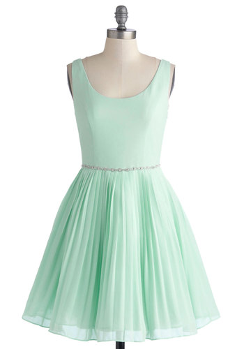 Sage a Dance Dress in Mint - Mid-length, Chiffon, Woven, Mint, Solid, Pleats, Rhinestones, Party, Luxe, Fairytale, Pastel, Fit & Flare, Tank top (2 thick straps), Spring, Summer, Scoop, Prom, Bridesmaid