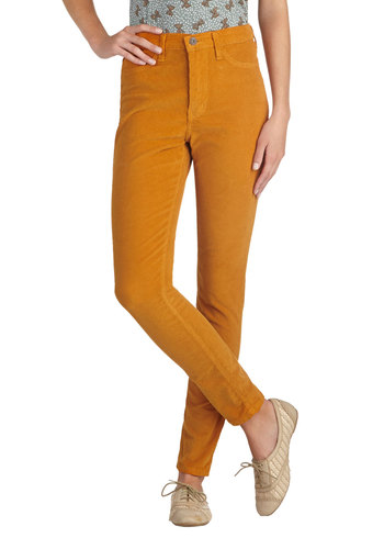 True Team Player Corduroy Pants in Marigold - Cotton, Woven, Solid, Pockets, Casual, Skinny, Yellow, Fall, Variation