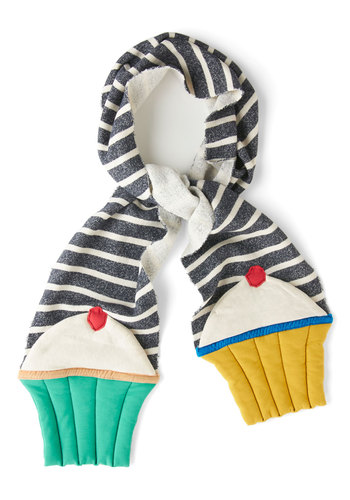 First Frosting Scarf by Heel Athens Lab - Multi, Kawaii, Winter, Stripes, International Designer, Knit, Red, Yellow, Green, Grey, White, Casual, Quirky, Statement