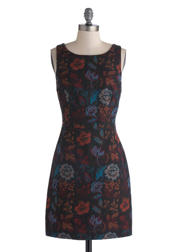 Scarlet Oak Secrets Dress by BB Dakota - Mid-length, Cotton, Woven, Black, Multi, Floral, Cutout, Party, Sleeveless, Better, Scoop, Cocktail, Sheath / Shift, Fall