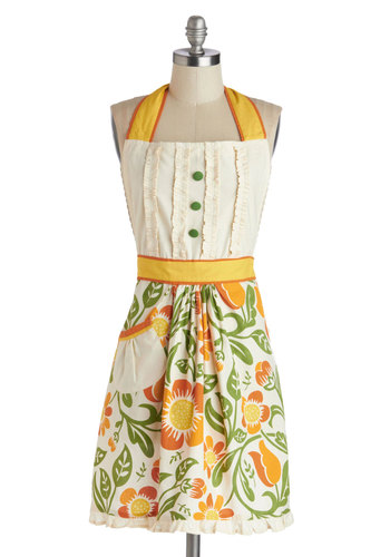 Casserole of a Lifetime Apron - Cotton, Woven, Multi, Orange, Yellow, Green, Tan / Cream, Floral, Buttons, Pockets, Ruffles, Vintage Inspired, Mid-Century, Better