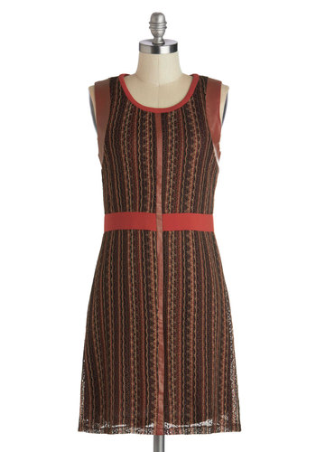 From Me to Rouge Dress - Mid-length, Faux Leather, Knit, Brown, Multi, Stripes, Casual, Sheath / Shift, Sleeveless, Fall, Better, Scoop, Knitted, Work, Vintage Inspired, 70s
