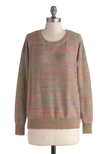 En Route to Rainbows Sweater by Mink Pink - Blue, Pink, Casual, Long Sleeve, Mid-length, Knit, Multi, Tan / Cream, Print, Vintage Inspired, 80s, Fall, Scoop, Multi, Long Sleeve