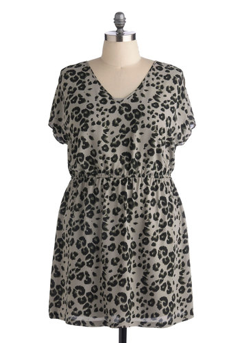 A Wink and a Wild Dress in Plus Size by BB Dakota - Woven, Sheer, Grey, Black, Animal Print, Party, A-line, Short Sleeves, Fall, Better, V Neck, Casual, Safari