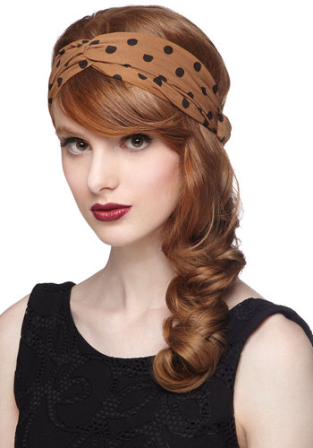 Dots to Love Headband in Cinnamon - Woven, Tan, Black, Polka Dots, Variation