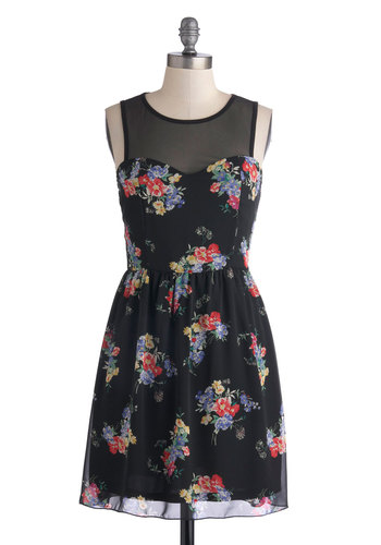 Bloom We'll Be Together Dress - Mid-length, Sheer, Woven, Black, Multi, Floral, Party, A-line, Sleeveless, Summer, Good, Scoop, Girls Night Out