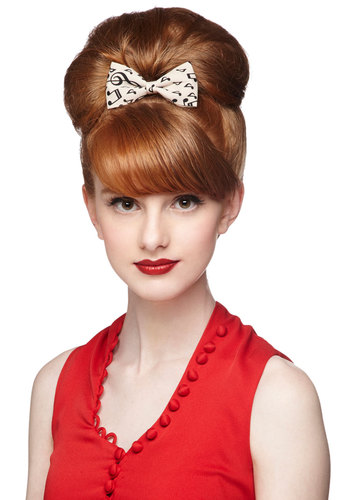 Musical Cheers Hair Clip - Cream, Black, Bows, Good, Music, Novelty Print, Top Rated