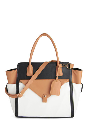 Structured Success Bag - Tan / Cream, Black, Solid, Colorblocking, Faux Leather, Work, Scholastic/Collegiate, White, Top Rated