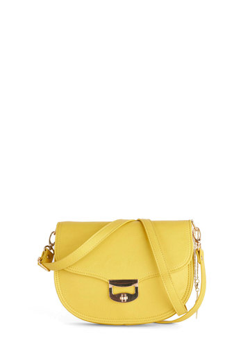 Bright Brunch Bag - Yellow, Gold, Solid, Faux Leather, Party