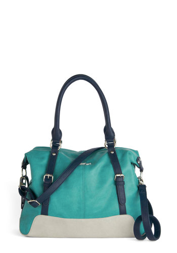 Give and Breathtake Bag - Faux Leather, Blue, Solid, Buckles, Colorblocking, Better, Grey, Work, Casual