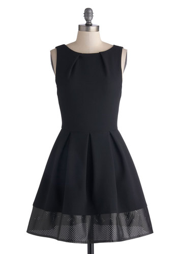 Shoreline Soiree in Edgy - Mid-length, Woven, Black, Solid, Exposed zipper, Party, Fit & Flare, Sleeveless, Better, Variation, Pleats, Pockets, Wedding, Cocktail, Boat, LBD, Top Rated